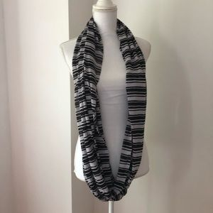 3/$15 Black and Grey Striped Infinity Scarf